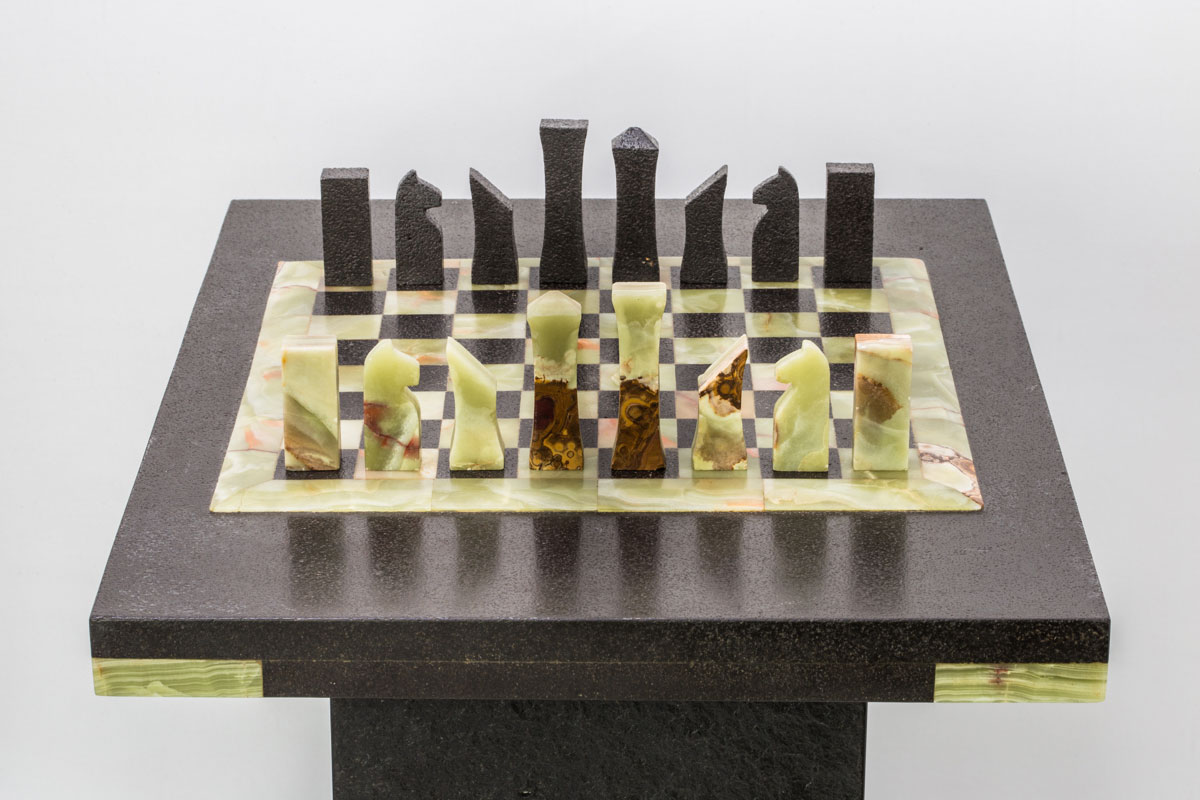 Onyx chess board from side