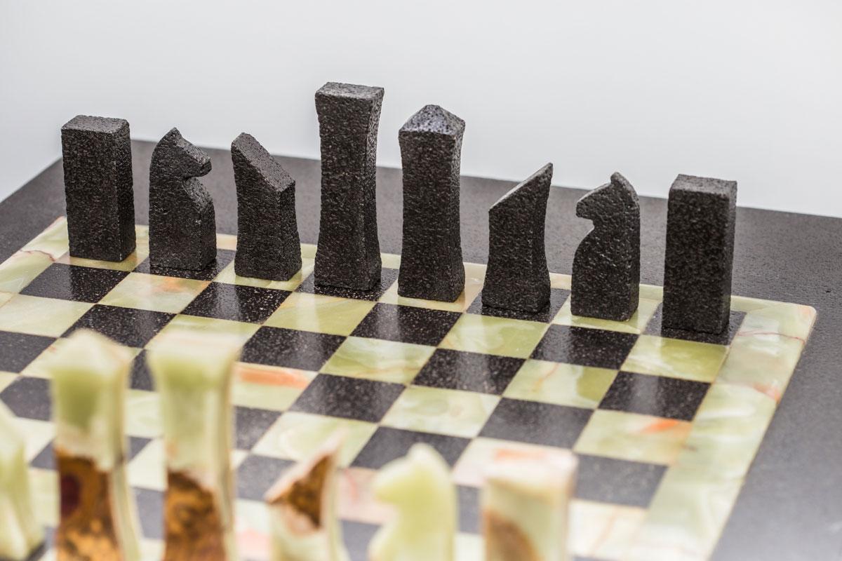 Onyx chess board closeup